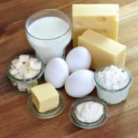 Fettige Lebensmittel: Butter, Käse, Eier