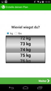 Gewicht angeben Noom App