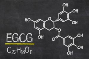 Schiefertafel mit der chemischen Formel von EGCG